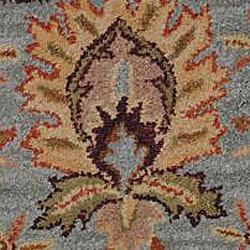 Hand-tufted Royal Garden Aqua/Beige Floral Wool Rug (8' x 11')