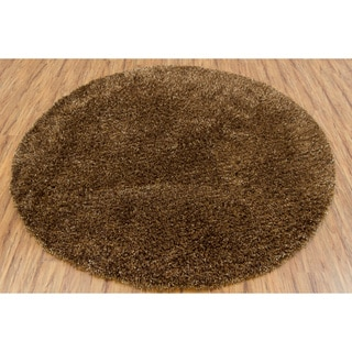 Handwoven Black/Brown Mandara Shag Rug (7'9 Round)