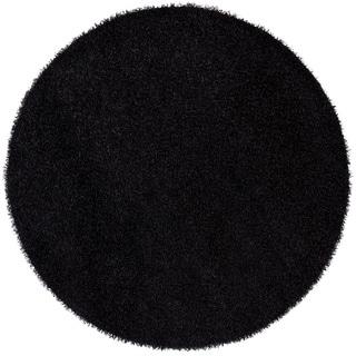 Hand-woven Mandara Black Shag Rug (7'9 Round)