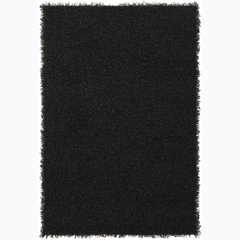 Hand Woven Mandara Black Shag Rug 4 39 X 6 39 Overstock