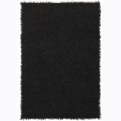 Polyester Handwoven Mandara Black Shag Rug (9' x 13')