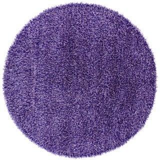 Handwoven Blue/Purple Mandara Shag Rug (7'9 Round)