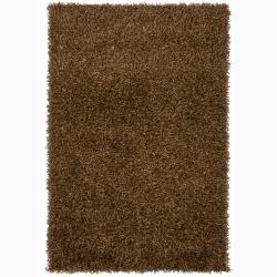 Handwoven Dark Brown Mandara Shag Rug (9' x 13')