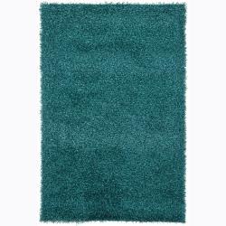 Hand-woven Mandara Blue Shag Rug (7'9 Round)