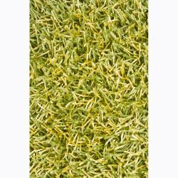 Handwoven Lemon-Yellow/Green Mandara Shag Rug (5' x 7'6)