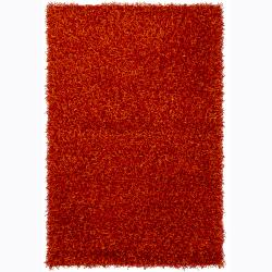 Handwoven Bright Red/Orange Mandara Shag Rug (9' x 13')