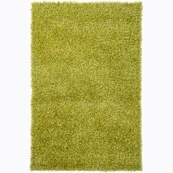 Handwoven Lime-Green/Yellow Mandara Shag Rug (9' x 13')