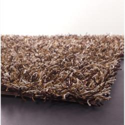 Handwoven Brown/Orange/White Mandara Shag Rug (5' x 7'6)
