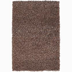 Handwoven Brown/White/Orange Mandara Shag Rug (9' x 13')