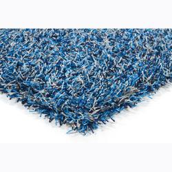 Handwoven Two-Toned Blue Mandara Shag Rug (9' x 13')