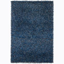 Handwoven Two-Toned Blue Mandara Shag Rug (9' x 13')