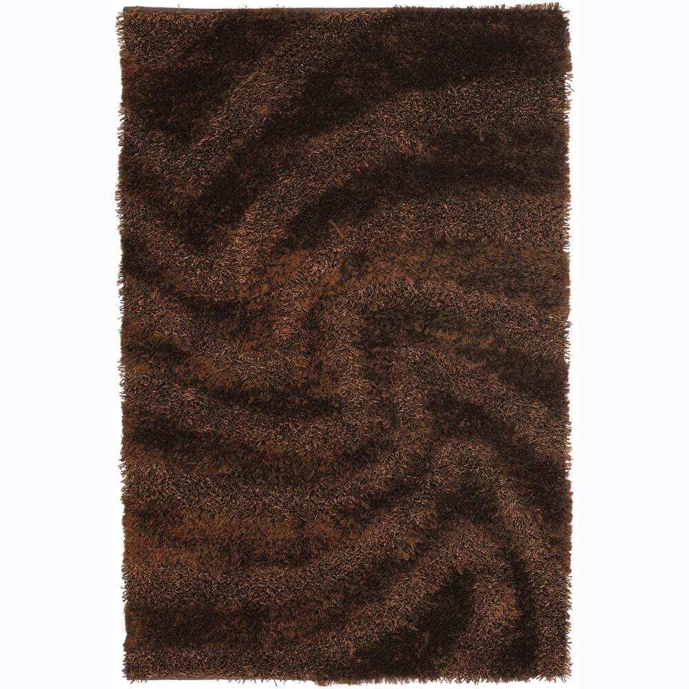 Mandara Handwoven Swirl-Patterned Mandara Shag Rug (7'9 x 10'6)