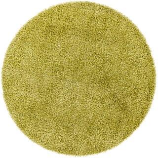 Handwoven Pear-Green Mandara Shag Rug (7'9 Round)