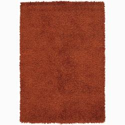 Handwoven Rust-Orange Mandara Shag Rug (9' x 13')