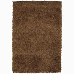 Handwoven Dark Brown Casual Mandara Shag Rug (7'9 Round)