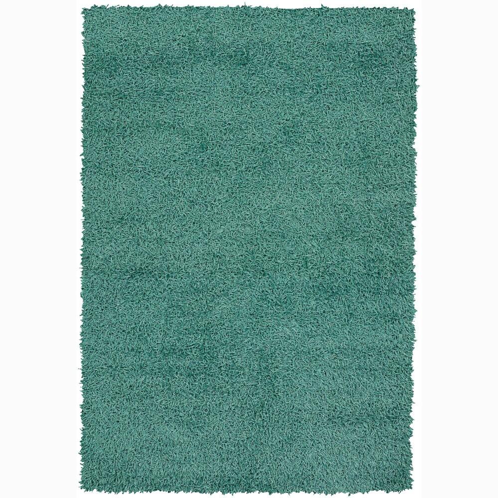 Handwoven Turquoise Mandara Shag Rug (7'9 x 10'6)