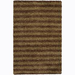 Handwoven Light Gold/Brown Striped Mandara Shag Rug (7'9 Round)