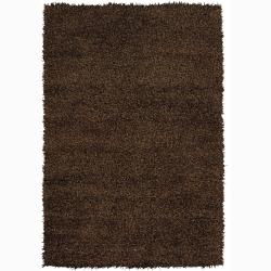 Handwoven Dark Brown Mandara Shag Area Rug (9' x 13')