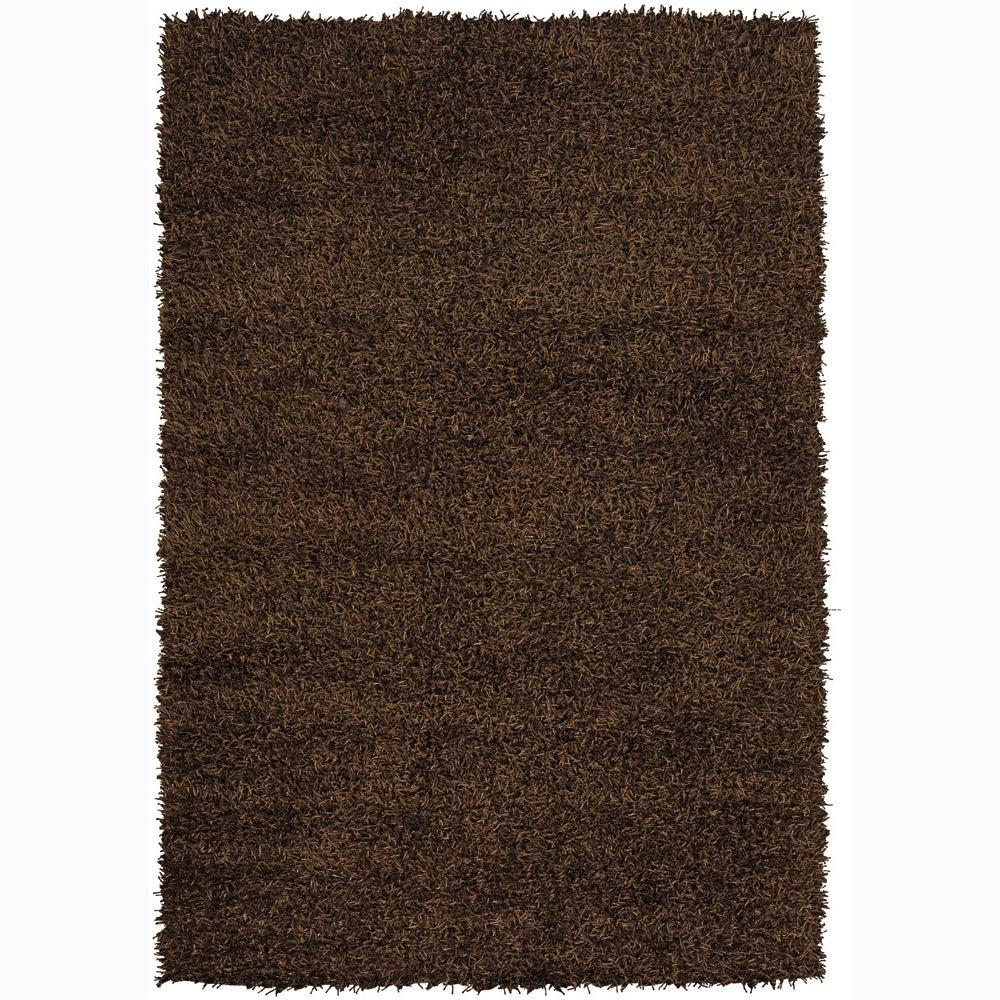 Dark Brown Handwoven Mandara Shag Rug (7'9 x 10'6)