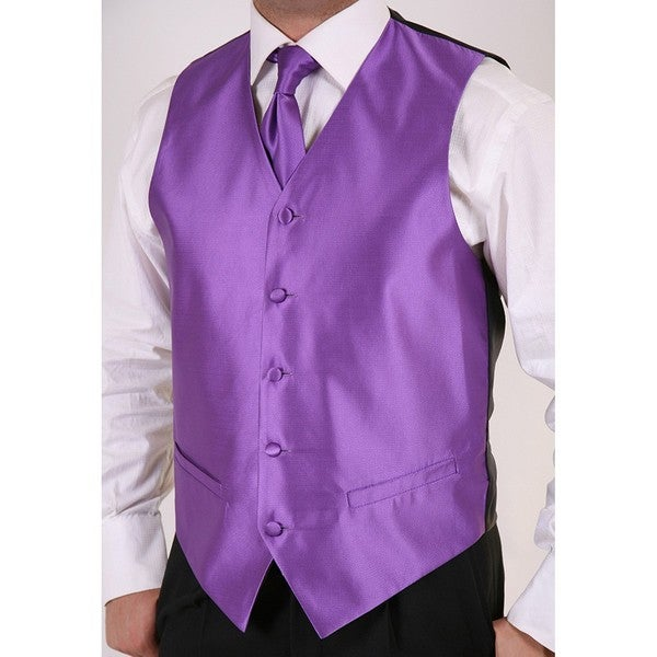 Ferrecci Men's Purple 2-piece Vest Set