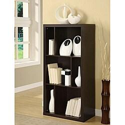 Cappuccino-Finish Wood Rectangular Room-Divider Bookcase