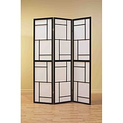 Black Wood Framed 3-panel Room Divider