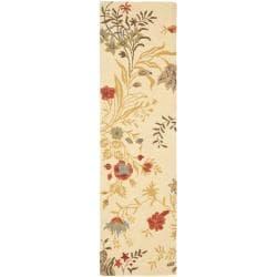 Handmade Blossom Beige Wool Rug (2'3 x 8')