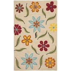 Safavieh Handmade Floral Blossom Beige Wool Rug (4' x 6')