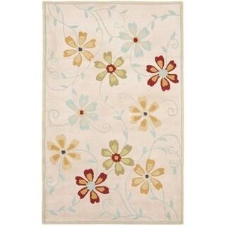 Handmade Blossom Beige Traditional Wool Rug (8' x 10')