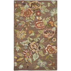 Handmade Blossom Brown Wool Rug (4' x 6')