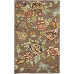 Handmade Blossom Brown Wool Rug (5' x 8')