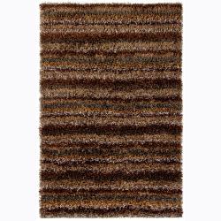 Hand-woven Mandara Brown Shag Rug (9' x 13')