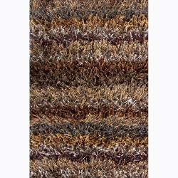 Handwoven Two-Inch Mandara Brown Shag Rug (5' x 7'6)