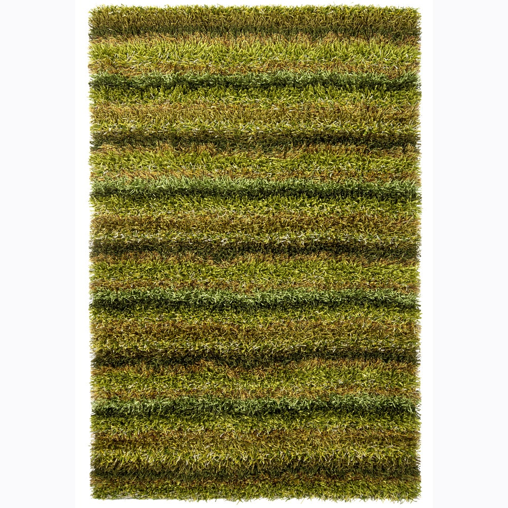Handwoven Mandara Green/Black/Brown Shag Rug (9' x 13')