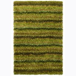 Handwoven Mandara Green/Black/Brown Shag Rug (9' x 13')