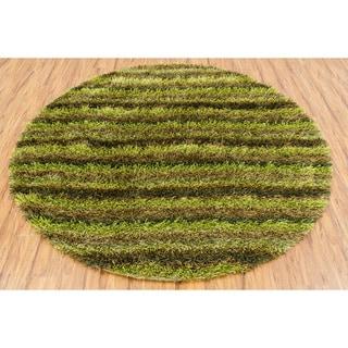 Hand-woven Mandara Green Shag Rug (7'9 Round)
