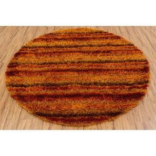 Hand-woven Mandara Orange Shag Rug (7'9 Round)