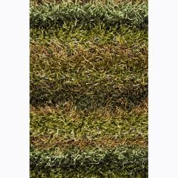 Hand-woven Mandara Green Shag Rug (2'6 x 7'6)
