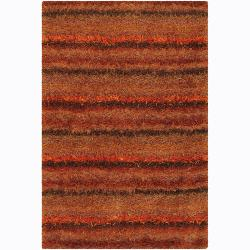 Hand-Woven Mandara Orange Casual Shag Rug (9' x 13')