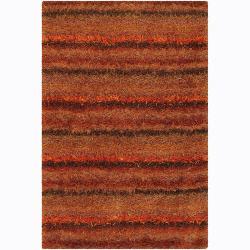 Handwoven Mandara Orange/Black Shag Rug (5' x 7'6