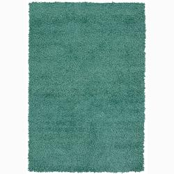 Handwoven Turquoise-Green Mandara Shag Rug (9' x 13')