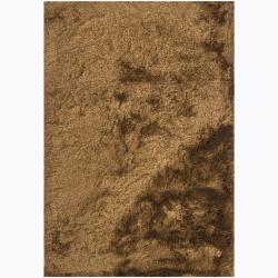 Handwoven Brown/Beige Mandara Shag Rug (9' x 13')