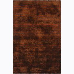 Handwoven Brown/Purple/Orange Mandara Shag Rug (9' x 13')