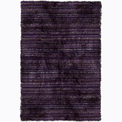 Handwoven Striped Multicolor Mandara Shag rug (5' x 7'6)