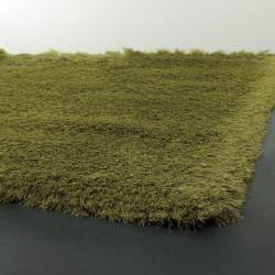 Handwoven Two-Inch Green Mandara Shag Rug (5' x 7'6)
