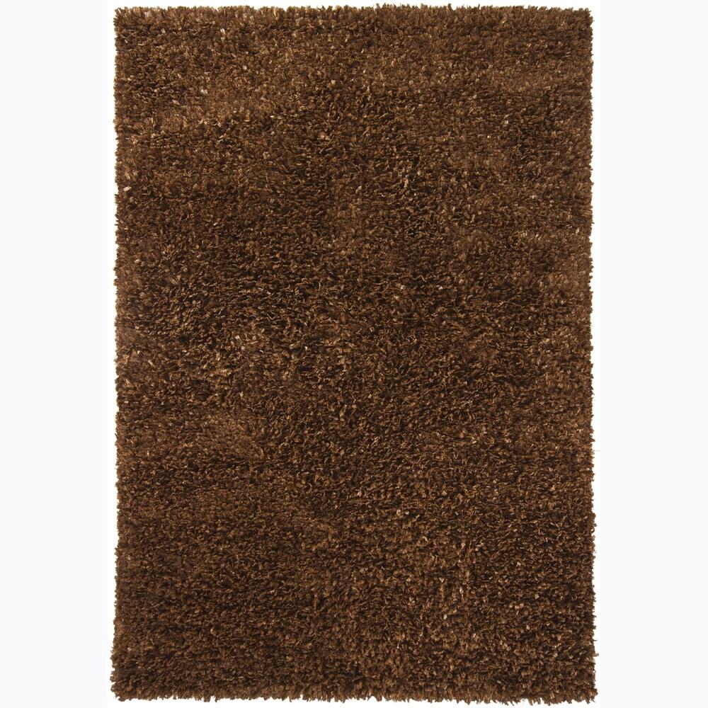 Handwoven Brown Viscose Mandara Shag Rug (5' x 7'6)