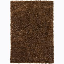 Handwoven Brown Viscose Mandara Shag Rug (5' x 7'6)