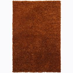 Handwoven Rust-Brown Viscose Mandara Shag Rug (9' x 13')