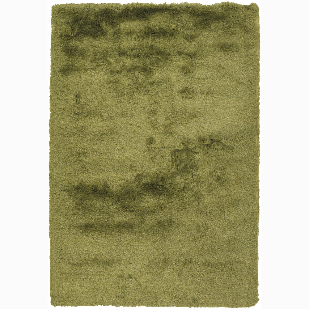 Handwoven Two-Inch Green Mandara Shag Rug (9' x 13')
