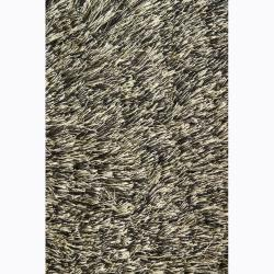 Handwoven Black/Green Mandara Shag Rug (5' x 7'6)
